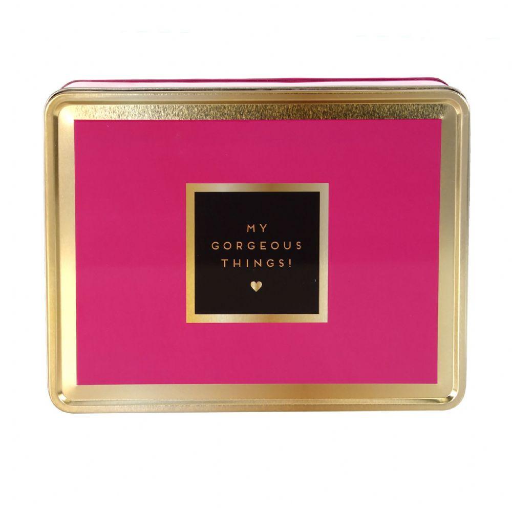 Pink and Gold Decorative Storage Tin For Student, Office storage